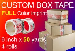 """6"""" x 150' Roll of Full Color Custom Box Tape, qty4"""