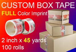 "2"" x 135' Roll of Full Color Custom Box Tape, qty100"