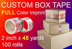 """3"""" x 135' Roll of Full Color Custom Box Tape, qty100"""