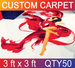 Skid Resistant Full Color Carpet 3 ft x 3 ft QTY50
