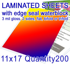 """11"""" x 17"""" Full Color Print with Edge Seal Gloss Lamination. Flat or Folded, QTY 200"""