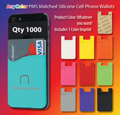 ANYColor pms matched silicone smart phone wallet, qty 1000