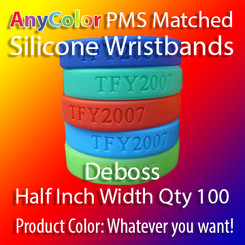 """PMS Matched """"AnyColor"""" Silicone Wristbands, Half Inch Width, Custom Deboss, Quantity 100"""