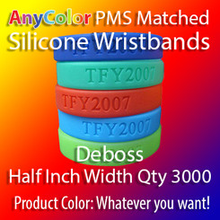 """PMS Matched """"AnyColor"""" Silicone Wristbands, Half Inch Width, Custom Deboss, Quantity 3000"""