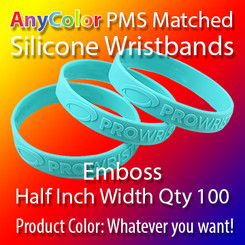 """PMS Matched """"AnyColor"""" Silicone Wristbands, Half Inch Width, Custom Emboss, Quantity 100"""