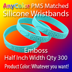 """PMS Matched """"AnyColor"""" Silicone Wristbands, Half Inch Width, Custom Emboss, Quantity 300"""