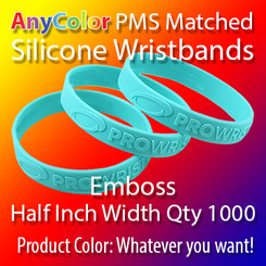 "PMS Matched ""AnyColor"" Silicone Wristbands, Half Inch Width, Custom Emboss, Quantity 1000"