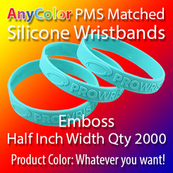 """PMS Matched """"AnyColor"""" Silicone Wristbands, Half Inch Width, Custom Emboss, Quantity 2000"""