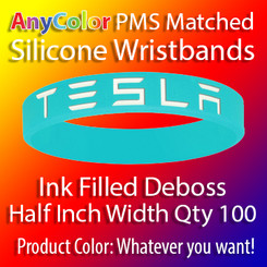 """PMS Matched """"AnyColor"""" Silicone Wristbands, Half Inch Width, Custom Deboss with Ink Fill, Quantity 100"""