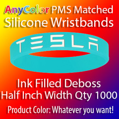 """PMS Matched """"AnyColor"""" Silicone Wristbands, Half Inch Width, Custom Deboss with Ink Fill, Quantity 1000"""