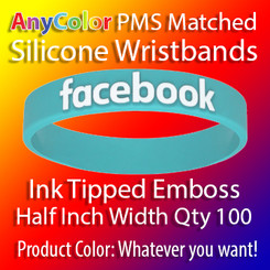 """PMS Matched """"AnyColor"""" Silicone Wristbands, Half Inch Width, Custom Emboss with Ink Tip, Quantity 100"""