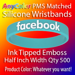 """PMS Matched """"AnyColor"""" Silicone Wristbands, Half Inch Width, Custom Emboss with Ink Tip, Quantity 500"""