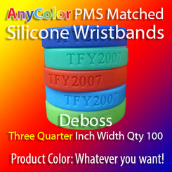 """PMS Matched """"AnyColor"""" Silicone Wristbands, Three Quarter Inch Width, Custom Deboss, Quantity 100"""