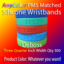 """PMS Matched """"AnyColor"""" Silicone Wristbands, Three Quarter Inch Width, Custom Deboss, Quantity 300"""