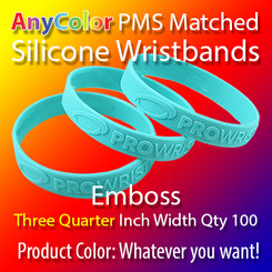 """PMS Matched """"AnyColor"""" Silicone Wristbands, Three Quarter Inch Width, Custom Emboss, Quantity 100"""