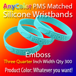 """PMS Matched """"AnyColor"""" Silicone Wristbands, Three Quarter Inch Width, Custom Emboss, Quantity 300"""
