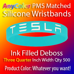 """PMS Matched """"AnyColor"""" Silicone Wristbands, Three Quarter Inch Width, Custom Deboss with Ink Fill, Quantity 500"""