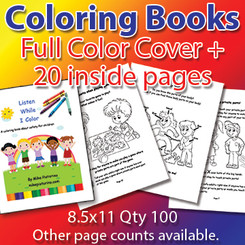 Coloring Books with Full Color Cover and 20 inside pages, 8.5x11, Qty-100