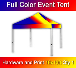 Full Color Event Tent, Dye Sublimation, Hardware and Print, Quantity 1, 10' x 10'