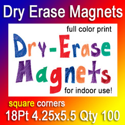 Dry Erase Indoor Magnets, 4.25x5.5, 18Pt, Square Corners, Quantity 100