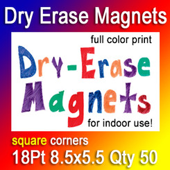 Dry Erase Indoor Magnets, 8.5x5.5, 18Pt, Square Corners, Quantity 50