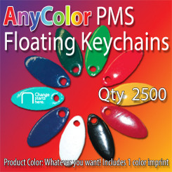 AnyColor PMS matched vinyl floating keychain with 1 color imprint Qty 2500