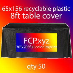 Recyclable Plastic 8Ft Table Cover with Full Color Imprint, Qty 50