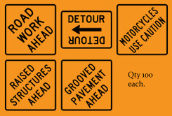 Five Sets of 100 Orange Coroplast Signs with Black Print, 24x24 or 24x18, 500 Signs Total