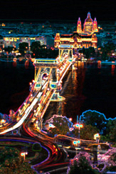 bridge over danube glowing%