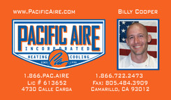 pac aire Billy Cooper business card