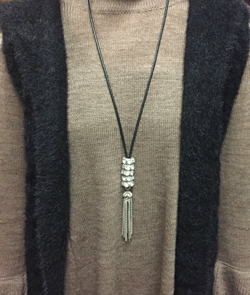 Leather/Silver Beaded Tassel Necklace