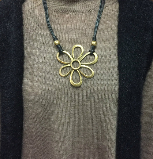 Leather/Gold Flower Necklace