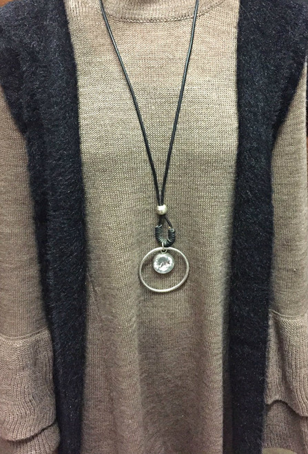 Long Leather/Silver Circle Necklace With Jem Pendant