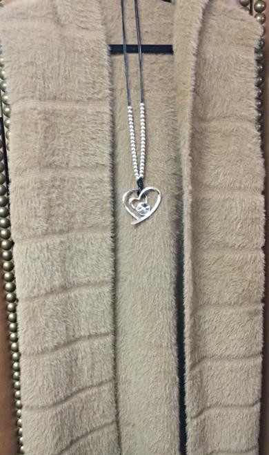 Long Heart Pendant Gem Necklace