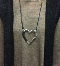 Long Leather/Silver Heart Necklace
