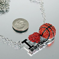 Basketball-I Love (Red Heart) Necklace