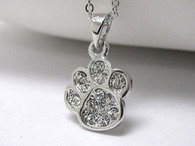 Paw Crystal Stud Flat Necklace