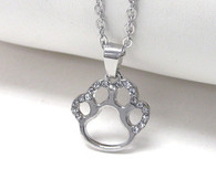 Paw Crystal Open Face Necklace