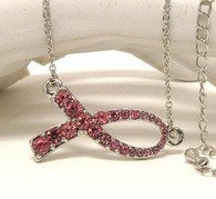 Breast Cancer Awareness Pink Ribbon Sideways Necklace