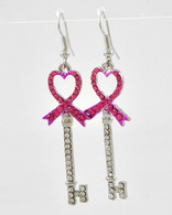 Breast Cancer Awareness Pink Ribbon Heart Throb Key Earrings