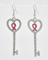 Breast Cancer Awareness Pink Ribbon Heart Enclosed Ribbon Earrings