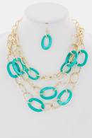 Layered Link Loop  Necklace & Earring Set-Multiple Colors