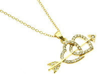 Hearts N Arrows Necklace & Earring Set-Gold