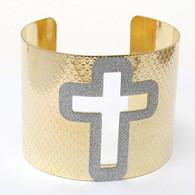 Cross Cut Metal Bangle. Tall 2 1/4 inch