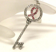Breast Cancer Awareness Pink Ribbon Circle Key Pendant