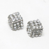 Crystal Half Cube Stud Earrings
