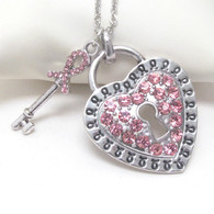 Breast Cancer Awareness Pink Ribbon Crystal Heart Lock & Key Pendant Necklace