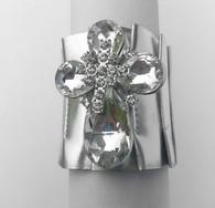 Crystal Cross Silver Metallic Bracelet