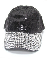 Black Sequin & Rhinestone Bling Cap