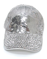 Silver Sequin & Rhinestone Bling Cap